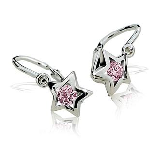 Zlaté dětské náušnice hvězdičky růžové kamínky 030.00022
