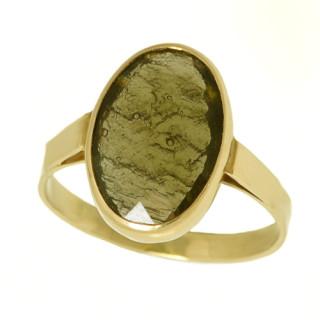 Zlatý prsten s vltavínem ze žlutého zlata,kámen 14x10mm 860.00034