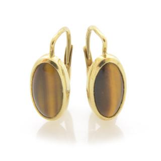 Elegantní zlaté náušnice ovál tygřího oka 820.00041