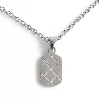 Ocelový náhrdelník s destičkou s kamínky 010.00001