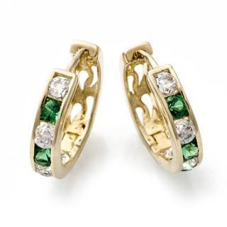 Zlaté náušnice kroužky zeleno-bílé 111.00003