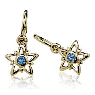 Zlaté dětské náušnice hvězdičky s modrými kamínky 900.00091