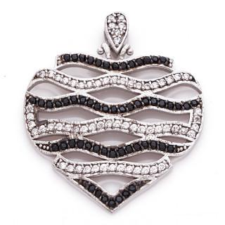 Stříbrný přívěšek  srdíčko -zvlněné pásky střídavě s bílými a černými kameny 04.141.00035