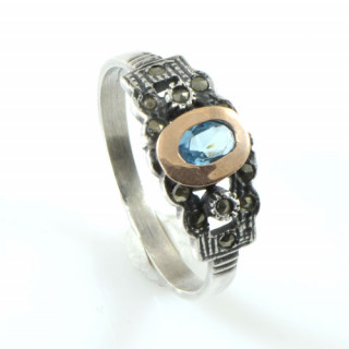 Stříbrný prsten s akvamarínem - portugalské šperky  AS ISAN 15