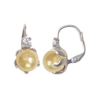 Stříbrné náušnice s perlou v meruňkové barvě 201.00015
