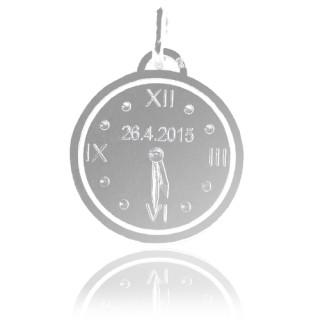 Stříbrné křtící hodiny k narození dítěte ZZ20.P20