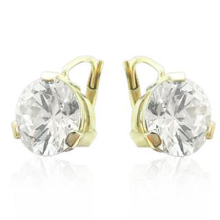 Zlaté luxusní náušnice s velkými zirkony 010.00046
