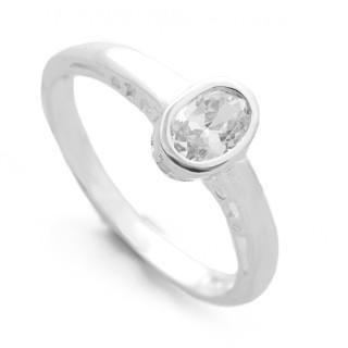 Stříbrný prsten s oválným zirkonem 010.00265