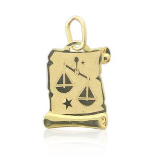 Zlatý přívěsek znamení Váhy na pergamenu 000.00086