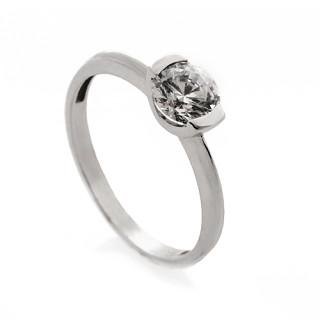 Zlatý prsten se zirkonem mezi dvěmi pacičkami 010.00028