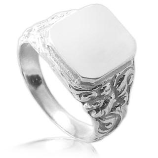 Stříbrný pánský prsten pečetní s ozdobnou šínou 000.00026