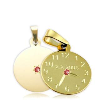 Křtící hodiny ze žlutého zlata s červeným kamínkem 15mm ZZ15.P10KR