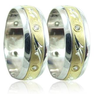 Snubní prsteny v kombinaci zlata B51