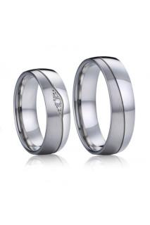 Ocelové snubní prsteny Quasimodo a Esmeralda s brilianty 035