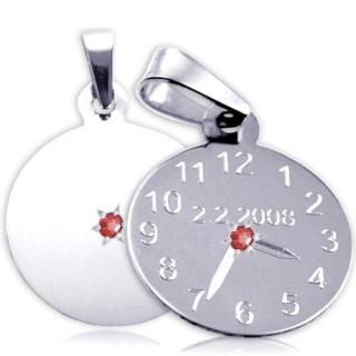Křtící hodiny z bílého zlata s červeným kamínkem 20mm ZZ20.P11KR