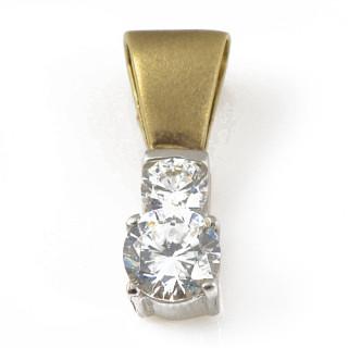 Přívěsek žluté zlato dva nestejné bílé kameny na matném očku 12.010.00038