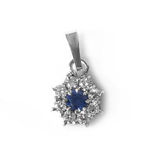 Stříbrný přívěs modrý kamínek okolo bílé 081.00004