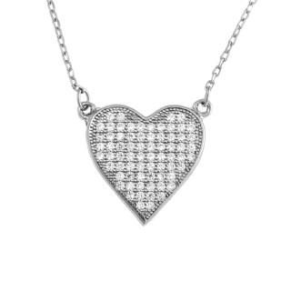 Stříbrný náhrdelník srdce s kamínky AGS234