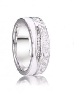Stříbrný prsten se zirkony 039