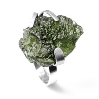 Stříbrný prsten s vltavínem 860.00003