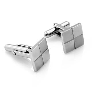 Ocelové manžetové knoflíčky mat a lesk šachovnice 03.00009