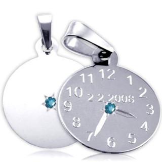 Křtící hodiny z bílého zlata s modrým kamínkem 20mm ZZ20.P11KM