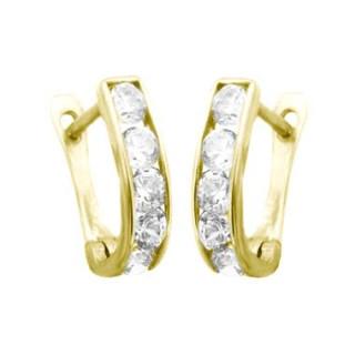 Zlaté náušnice podkovy s bílými kamínky 010.00028