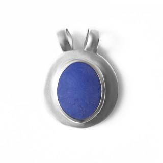 Stříbrný přívěsek modrý oválný kámen se stříbrným lemem, dvojočko 12.080.00123