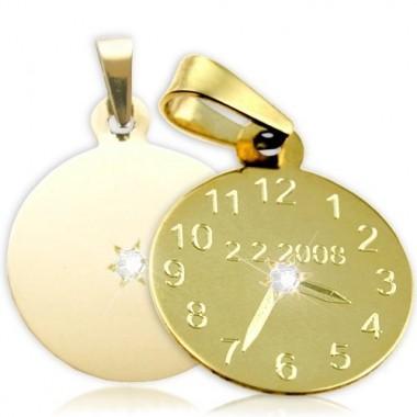 Přívěsek ve tvaru křtících hodinek žluté zlato